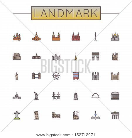 Vector Colored Landmark Line Icons isolated on white background