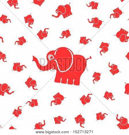 Seamless vector print . Fun elephants design