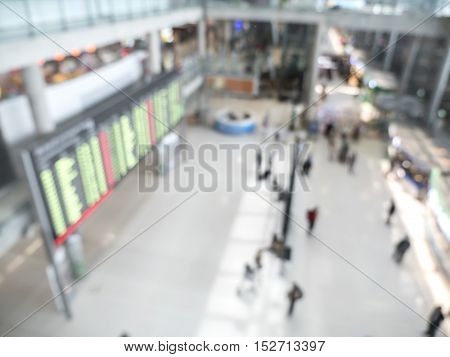 Blur background of flight board in the airport with high view