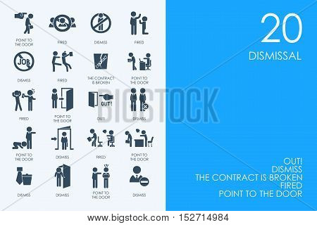 BLUE HAMSTER Library dismissal vector set of modern simple icons