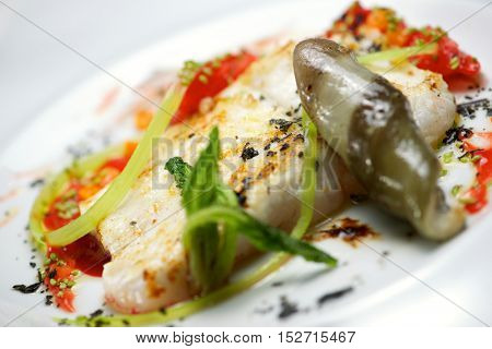 Conger with vegetables and spicy sauce.