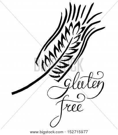 Gluten free vector label. Handwritten grunge lettering. Vector illustration
