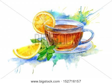 Glass cup of tea with lemon and mint leaves.Drink painting.Watercolor hand drawn illustration.