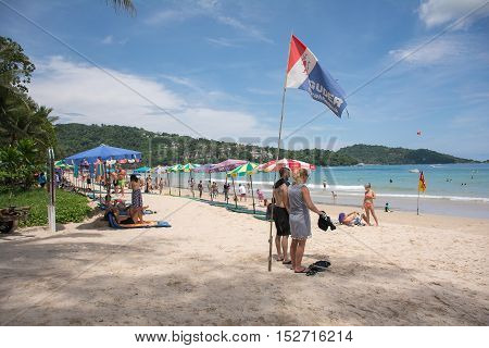 PHUKET THAILAND - JULY 252016 : Tourists from various countries are playing activities at Patong beach 252016 at Patong beach Phuket Thailand
