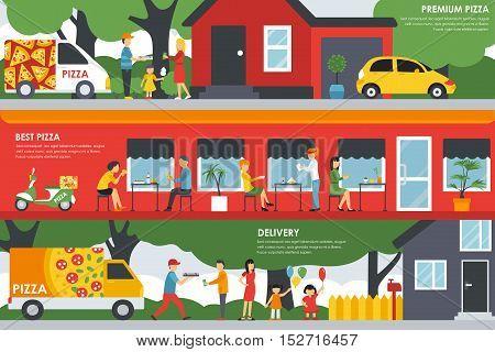 Premium Best Pizza and Delivery flat concept web vector illustration. People, Visitors, Waiters, Deliveryman, Car. Pizzeria Restaurant presentation.