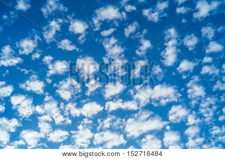 Blue sky with clouds of white and gray