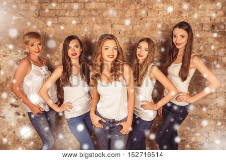 Group Of Beautiful Women Having Theme New Year Party