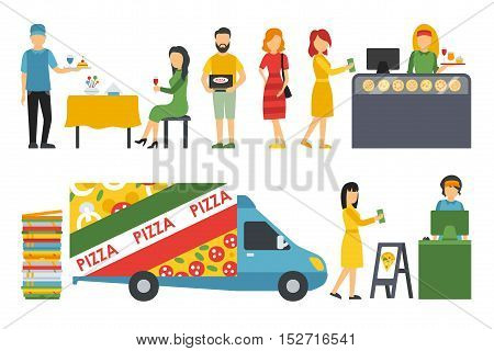 People in a Pizzeria interior flat icons set. Pizza concept web vector illustration. Cashier, Customers, Bistro, Waiters, Delivery, Car