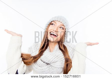 Cheerful Woman Clothing In Warm Hat And Scarf Catching Snow