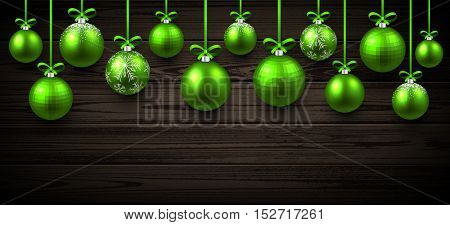 New Year wooden banner with green Christmas balls. Vector illustration.