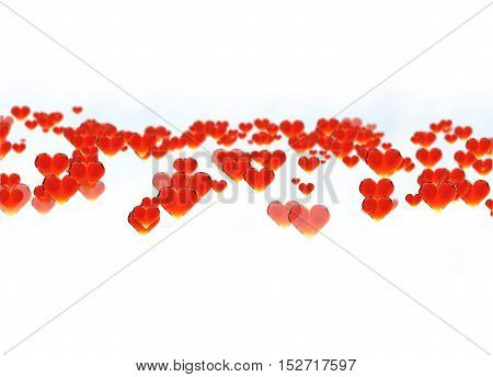 Red gem hearts isolated on white background. Geometric rumpled triangular low poly style graphic 3d render illustration. Raster polygonal design for your business.