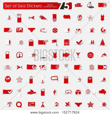 sea vector sticker icons with shadow. Paper cut