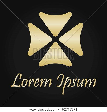 Gold Flower Logo Template. Company Logo. Isolated.