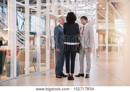 Diverse group of businesspeople talking together while standing in the lobby of a modern office building