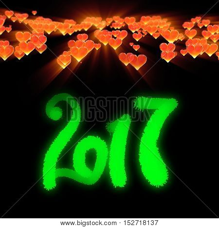 Happy new year 2017 isolated numbers written with light on dark bokeh background and red flying hearts 3d illustration.