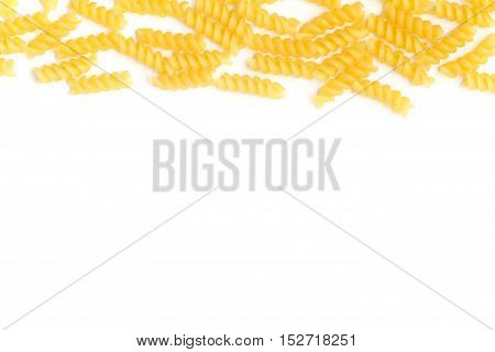 Fusilli Frame. Pasta isolated over a white background
