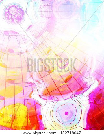 graphic design illustration of notes and note lines in circle structure, music concept
