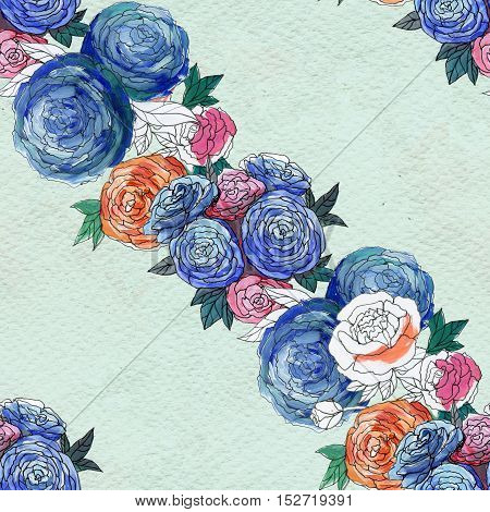 Seamless pattern with colorful flowers. Floral watercolor background.