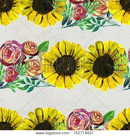 Seamless pattern with sunflowers and pink roses. Floral watercolor background.