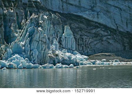 sunlight reflected from glacier in Glacier Bay National Park, Alaska
