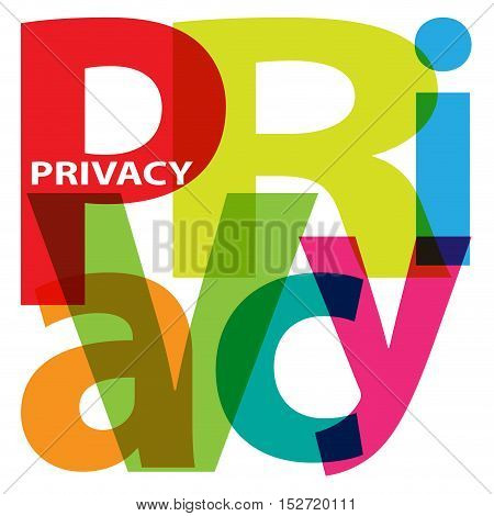 Vector Privacy. Isolated confused broken colorful text