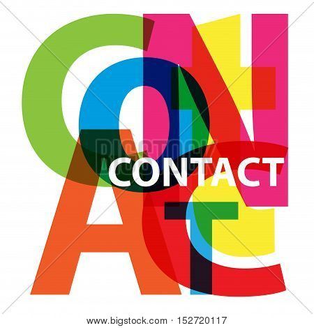Vector Contact. Isolated confused broken colorful text
