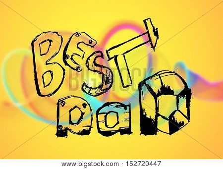 Best Dad lettering. Fathers day greeting card. pencil hand drawn illustration