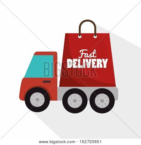 fast truck delivery bag form icon graphic vector illustration
