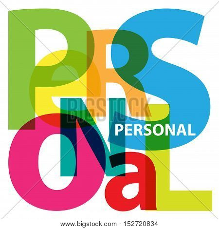 Vector Personal. Isolated confused broken colorful text