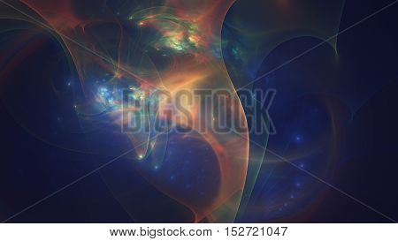glowing orange blue curved lines over dark Abstract Background space universe. Illustration.