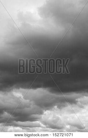 Storm sky rain. Thunderclouds over horizon dark gray.