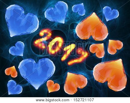 Happy new year 2017 numbers written with flame light on black background full of gem rumpled triangular low poly hearts. 3d illustration.