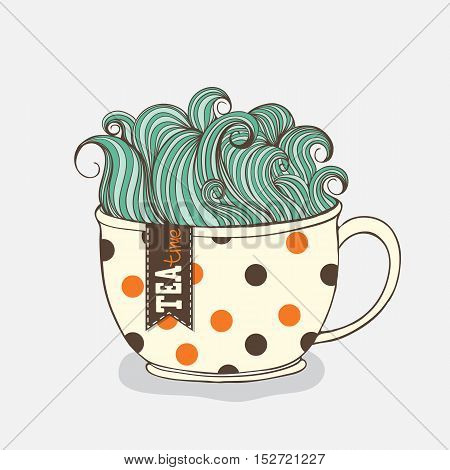 Vector tea time illustrations. Hand drawn cup with cute doodle waves.