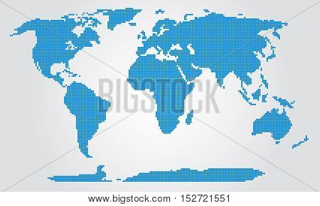 Dotted World Map. Template with blue points isolated on white background. Worldmap Vector for website, design, cover, infographics.