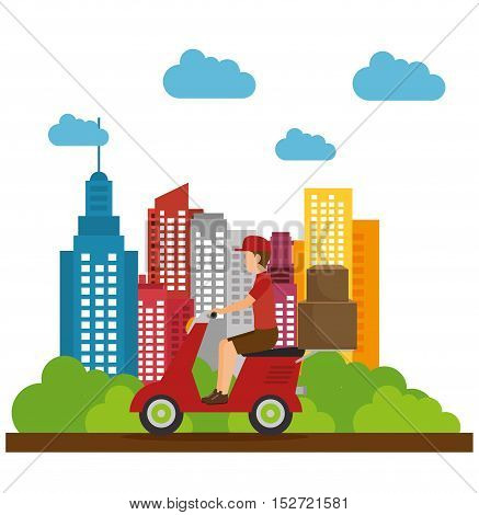 delivery guy service box city vector illustration