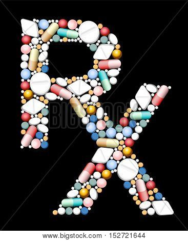 RX - symbol for medical prescription - composed of pills and capsules.