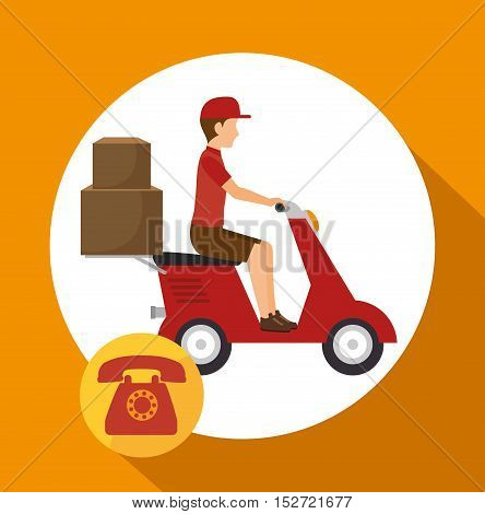 man courier service package telephone vector illustration