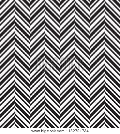 Black and white herringbone chevron fabric seamless pattern, vector background