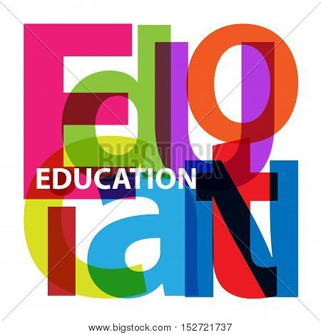 Vector education. Isolated confused broken colorful text