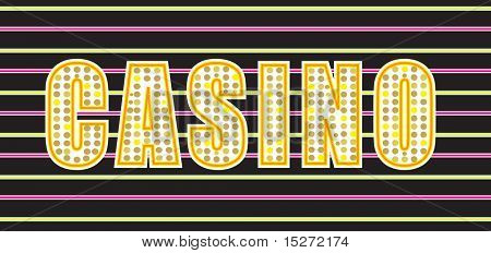 Illustration of a casino sign in bright neon lights
