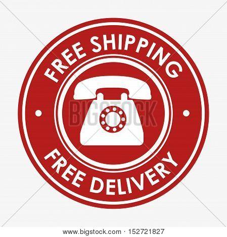 free shipping telephone emblem design vector illustration
