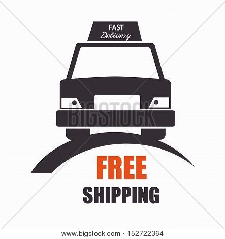 free shipping car front view icon vector illustration