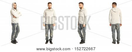 Portrait Of Young Man In Casual Isolated On White Background