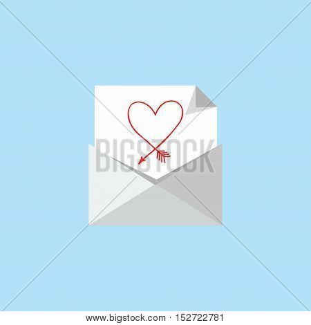 sheet of paper with a heart in the envelope. Vector simple envelope with red heart inside, concept in greeting valentine day