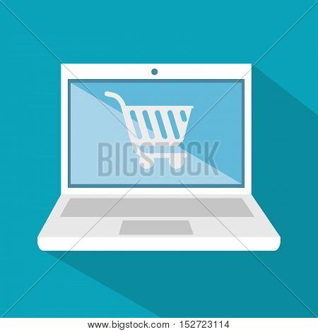 laptop technology digital shop cart icon vector illustration