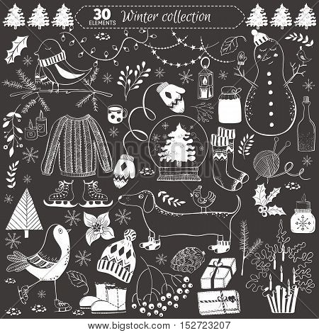Vector winter collection on black background. 30 doodles elements for greeting cards postcards banners wallpapers. Design set for winter holidays decoration. Winter template.
