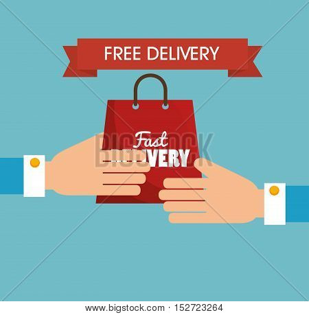 hand holds bag gift free delivery vector illustration