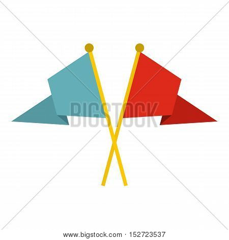 Red and blue flags icon. Flat illustration of flags vector icon for web design