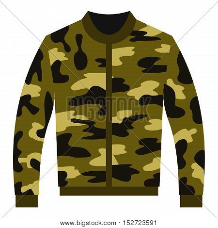 Camouflage jacket icon. Flat illustration of camouflage jacket vector icon for web design