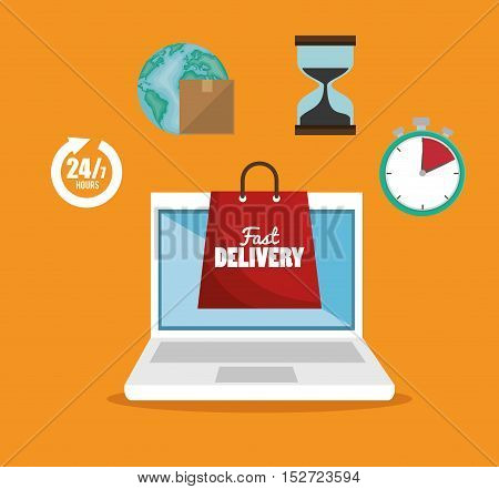 e-shopping fast delivery online service vector illustration